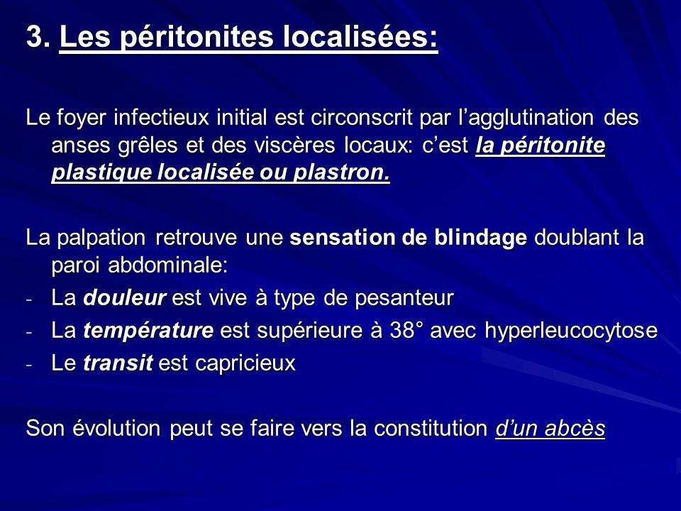 3. Les péritonites localisées: Le foyer infectieux initial est circonscrit par lagglutination des anses grêles et des viscères locaux: cest la périton