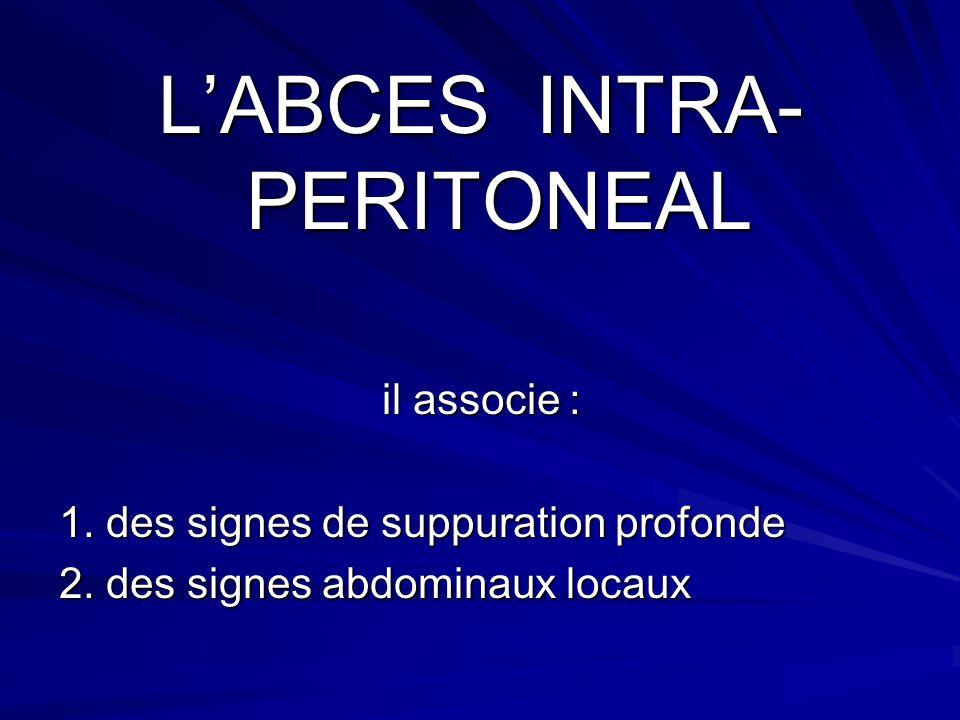 LABCES INTRA- PERITONEAL il associe : 1. des signes de suppuration profonde 2. des signes abdominaux locaux