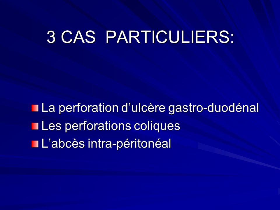 3 CAS PARTICULIERS: La perforation dulcère gastro-duodénal Les perforations coliques Labcès intra-péritonéal