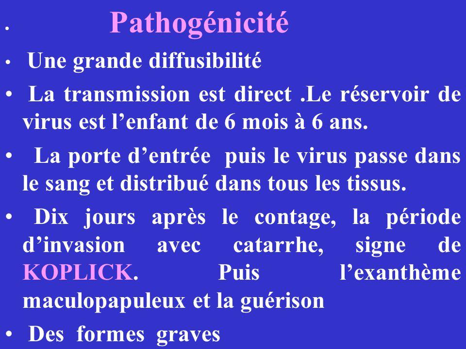 Pathogénicité Une grande diffusibilité La transmission est direct.Le réservoir de virus est lenfant de 6 mois à 6 ans. La porte dentrée puis le virus