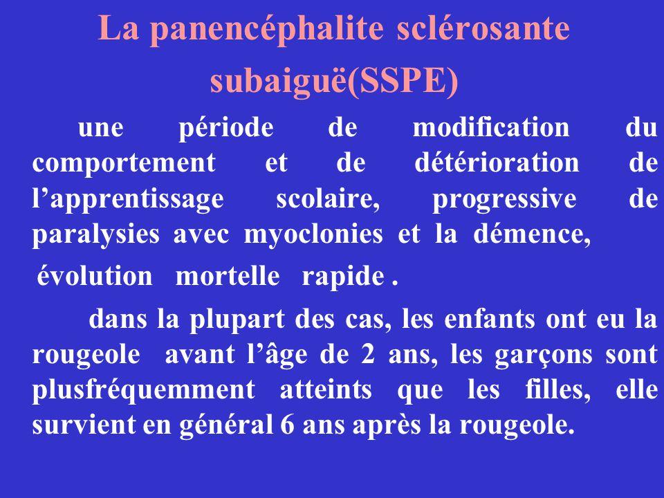 La panencéphalite sclérosante subaiguë(SSPE) une période de modification du comportement et de détérioration de lapprentissage scolaire, progressive d