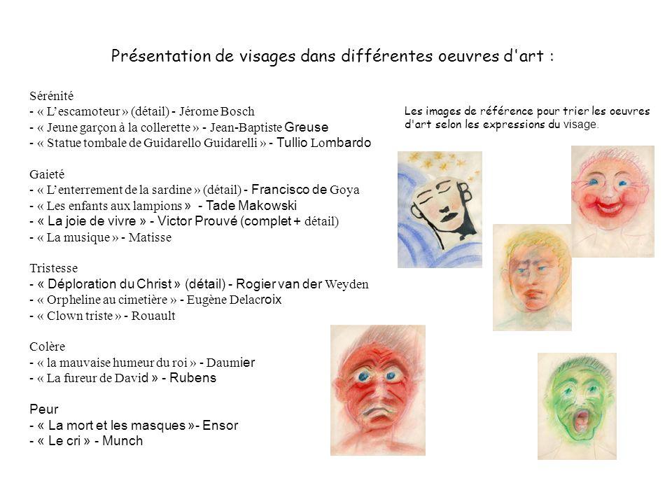 Présentation de visages dans différentes oeuvres d'art : Sérénité - « Lescamoteur » (détail) - Jérome Bosch - « Jeune garçon à la collerette » - Jean-