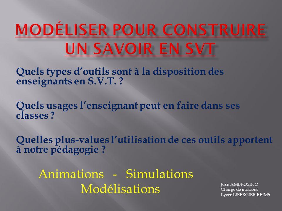 Modélisation, simulation et animations sont des pratiques courantes de chercheurs ou dingénieurs daujourdhui.