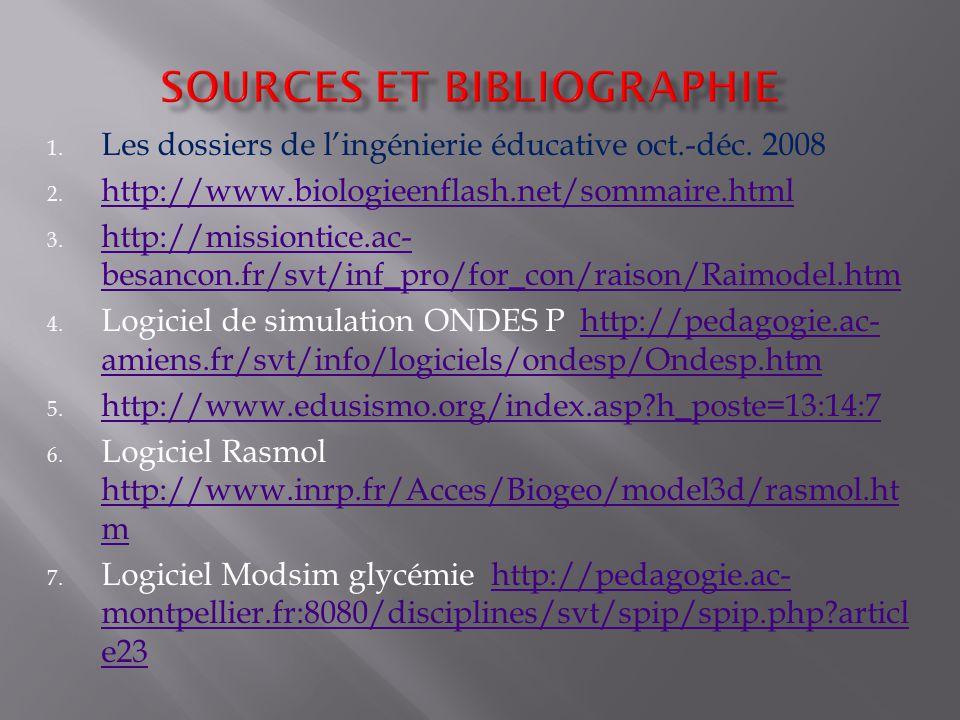 1. Les dossiers de lingénierie éducative oct.-déc. 2008 2. http://www.biologieenflash.net/sommaire.html http://www.biologieenflash.net/sommaire.html 3