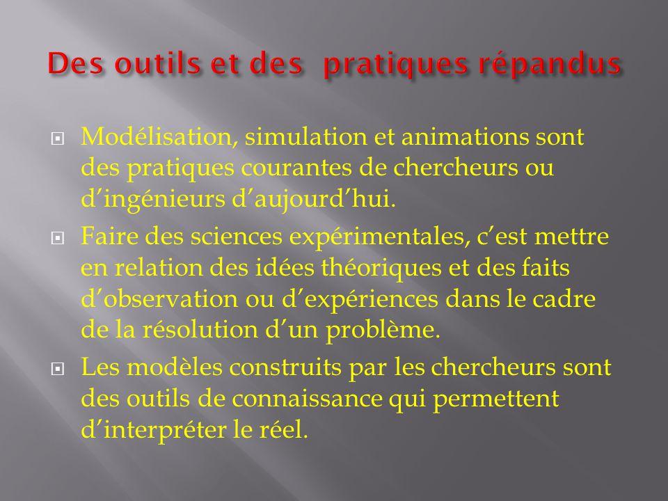 Modélisation, simulation et animations sont des pratiques courantes de chercheurs ou dingénieurs daujourdhui. Faire des sciences expérimentales, cest