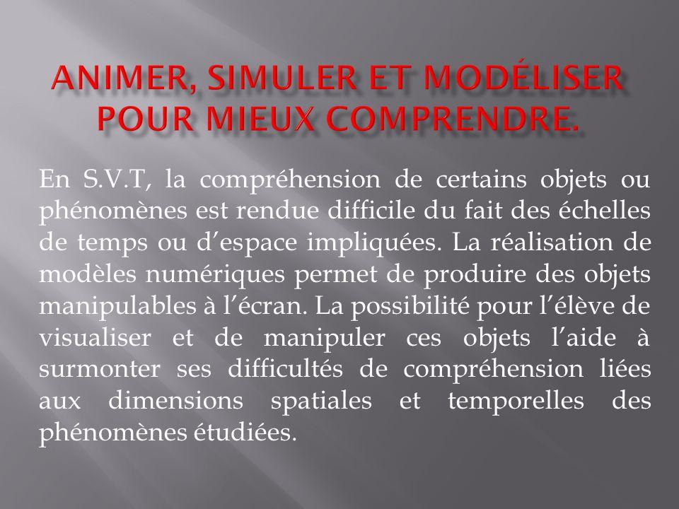 En S.V.T, la compréhension de certains objets ou phénomènes est rendue difficile du fait des échelles de temps ou despace impliquées. La réalisation d