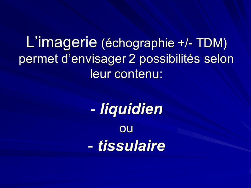 Limagerie (échographie +/- TDM) permet denvisager 2 possibilités selon leur contenu: - liquidien ou - tissulaire