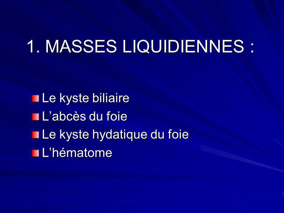 1. MASSES LIQUIDIENNES : Le kyste biliaire Labcès du foie Le kyste hydatique du foie Lhématome