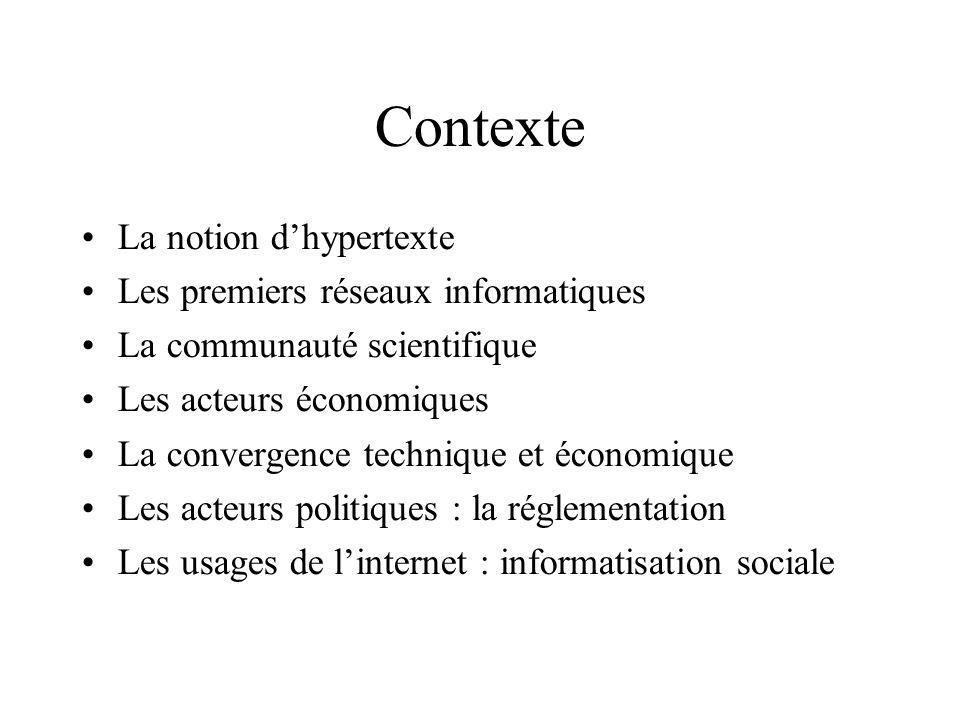 Contexte La notion dhypertexte Les premiers réseaux informatiques La communauté scientifique Les acteurs économiques La convergence technique et économique Les acteurs politiques : la réglementation Les usages de linternet : informatisation sociale