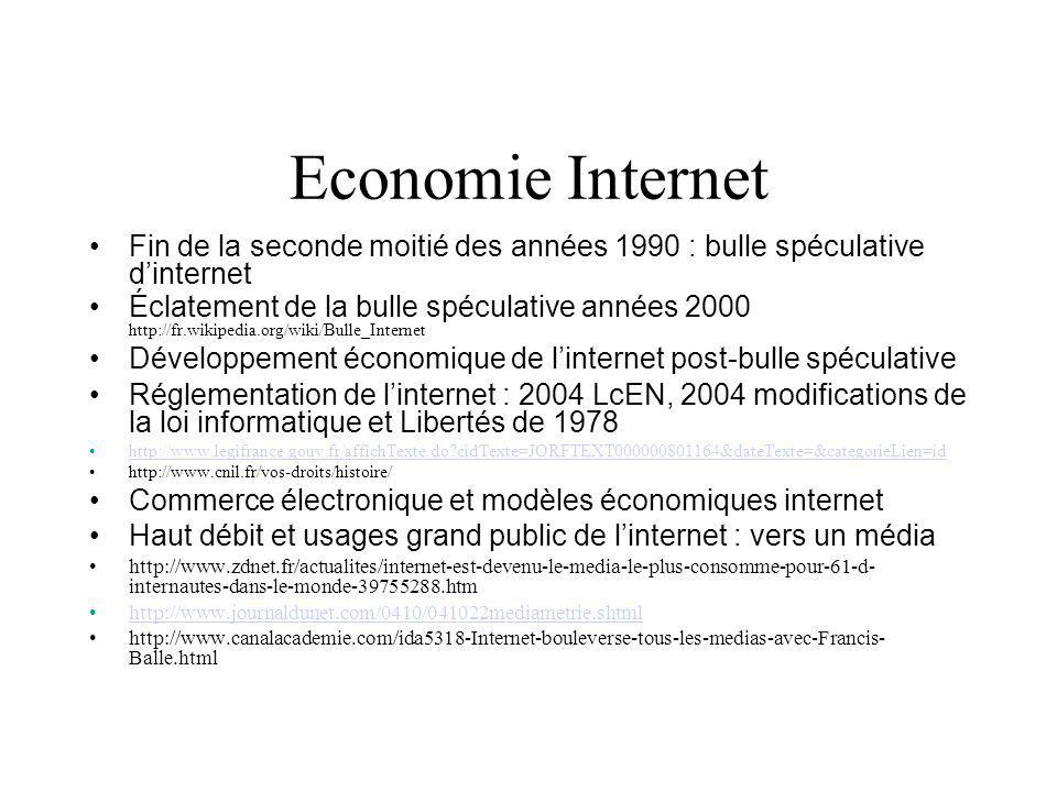 Economie Internet Fin de la seconde moitié des années 1990 : bulle spéculative dinternet Éclatement de la bulle spéculative années 2000 http://fr.wikipedia.org/wiki/Bulle_Internet Développement économique de linternet post-bulle spéculative Réglementation de linternet : 2004 LcEN, 2004 modifications de la loi informatique et Libertés de 1978 http://www.legifrance.gouv.fr/affichTexte.do cidTexte=JORFTEXT000000801164&dateTexte=&categorieLien=id http://www.cnil.fr/vos-droits/histoire/ Commerce électronique et modèles économiques internet Haut débit et usages grand public de linternet : vers un média http://www.zdnet.fr/actualites/internet-est-devenu-le-media-le-plus-consomme-pour-61-d- internautes-dans-le-monde-39755288.htm http://www.journaldunet.com/0410/041022mediametrie.shtml http://www.canalacademie.com/ida5318-Internet-bouleverse-tous-les-medias-avec-Francis- Balle.html