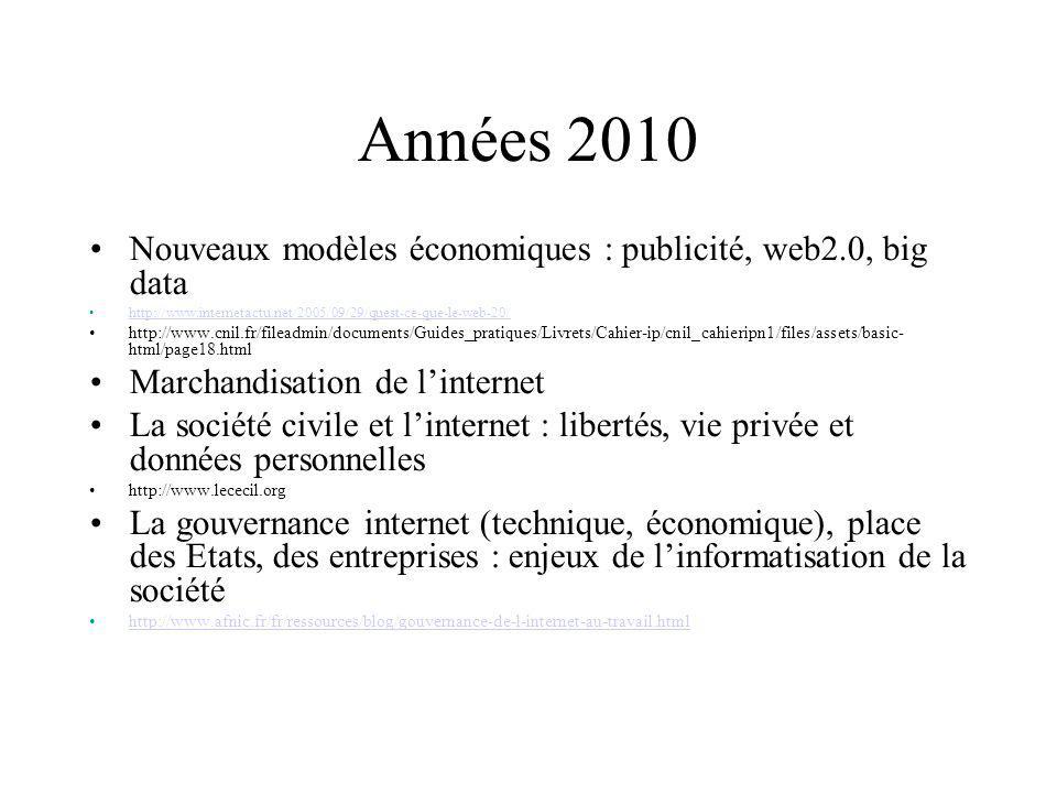 Années 2010 Nouveaux modèles économiques : publicité, web2.0, big data http://www.internetactu.net/2005/09/29/quest-ce-que-le-web-20/ http://www.cnil.fr/fileadmin/documents/Guides_pratiques/Livrets/Cahier-ip/cnil_cahieripn1/files/assets/basic- html/page18.html Marchandisation de linternet La société civile et linternet : libertés, vie privée et données personnelles http://www.lececil.org La gouvernance internet (technique, économique), place des Etats, des entreprises : enjeux de linformatisation de la société http://www.afnic.fr/fr/ressources/blog/gouvernance-de-l-internet-au-travail.html