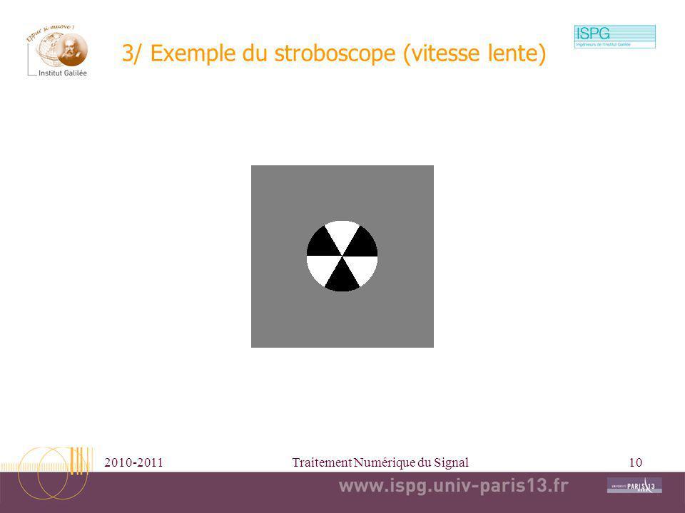 2010-2011Traitement Numérique du Signal10 3/ Exemple du stroboscope (vitesse lente)