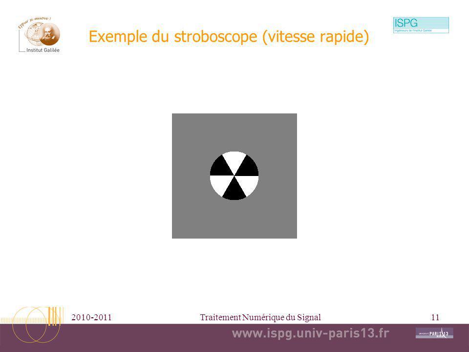 2010-2011Traitement Numérique du Signal11 Exemple du stroboscope (vitesse rapide)