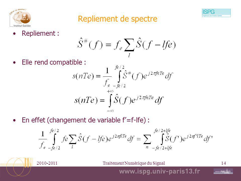 2010-2011Traitement Numérique du Signal14 Repliement de spectre Repliement : Elle rend compatible : En effet (changement de variable f=f-lfe) :