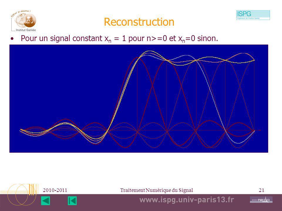 2010-2011Traitement Numérique du Signal21 Reconstruction Pour un signal constant x n = 1 pour n>=0 et x n =0 sinon.