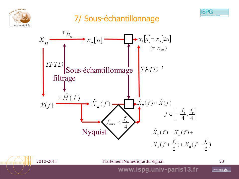 2010-2011Traitement Numérique du Signal23 7/ Sous-échantillonnage Sous-échantillonnage Nyquist filtrage