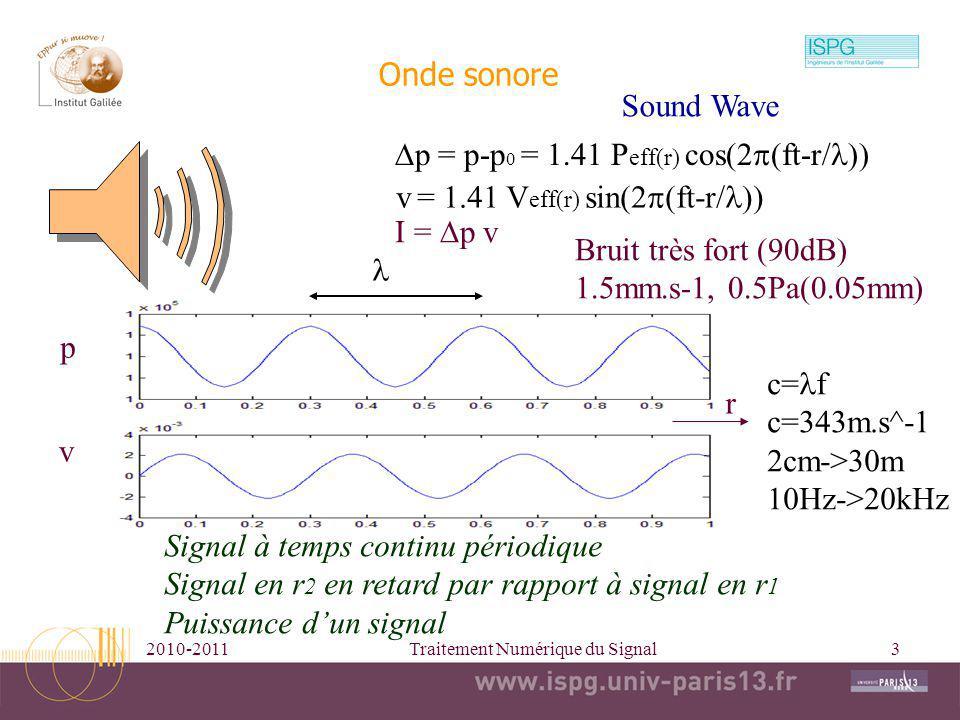 2010-2011Traitement Numérique du Signal3 Onde sonore p v r c= f c=343m.s^-1 2cm->30m 10Hz->20kHz p = p-p 0 = 1.41 P eff(r) cos(2 ft-r/ v = 1.41 V eff(