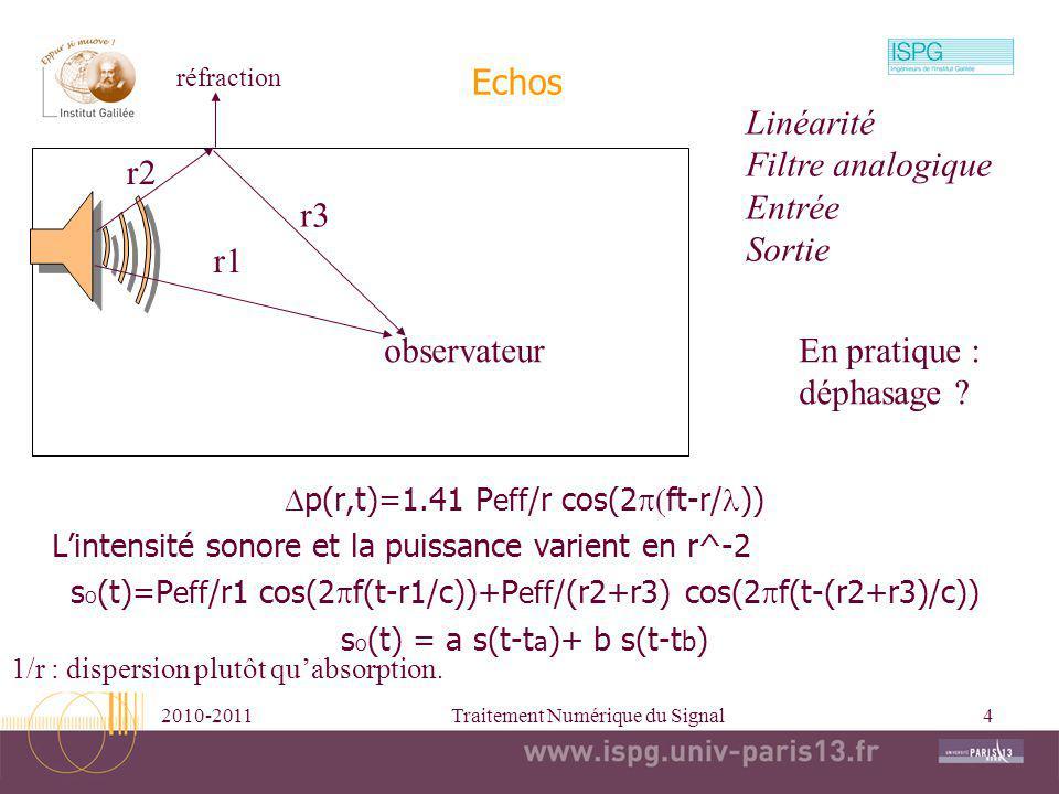 2010-2011Traitement Numérique du Signal4 Echos p(r,t)=1.41 P eff /r cos(2 ft-r/ )) Lintensité sonore et la puissance varient en r^-2 s O (t)=P eff /r1