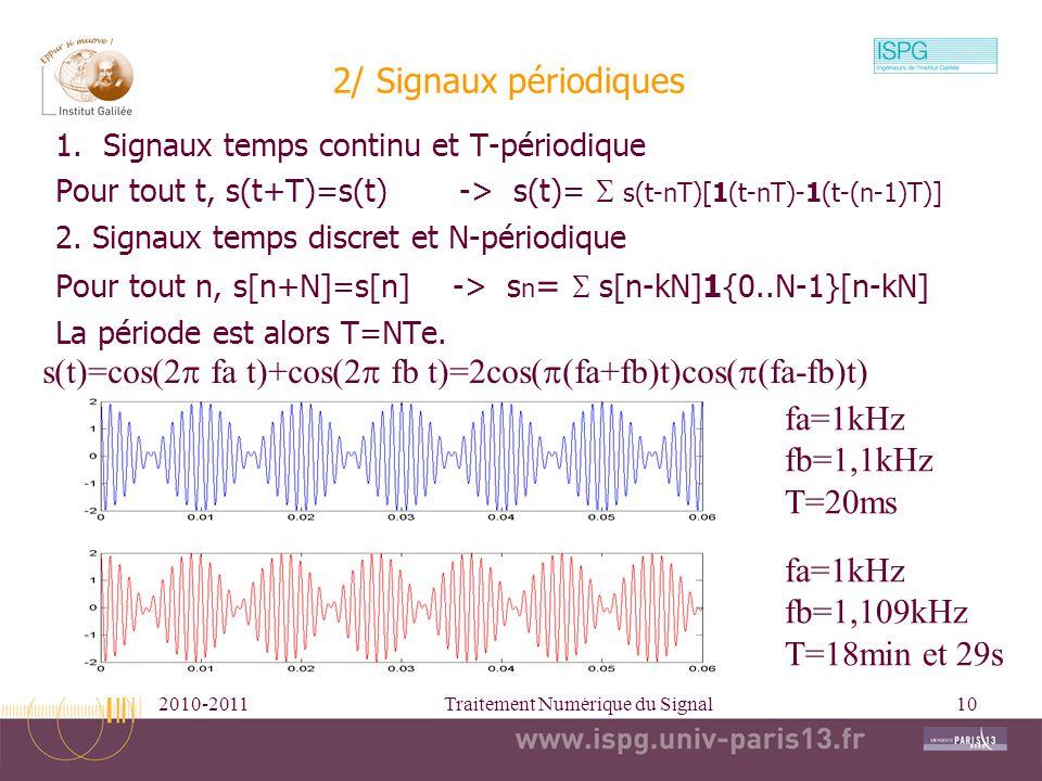 2010-2011Traitement Numérique du Signal10 1.Signaux temps continu et T-périodique Pour tout t, s(t+T)=s(t) -> s(t)= s(t-nT)[1(t-nT)-1(t-(n-1)T)] 2. Si