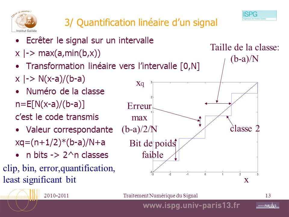 2010-2011Traitement Numérique du Signal13 3/ Quantification linéaire dun signal Ecrêter le signal sur un intervalle x |-> max(a,min(b,x)) Transformati
