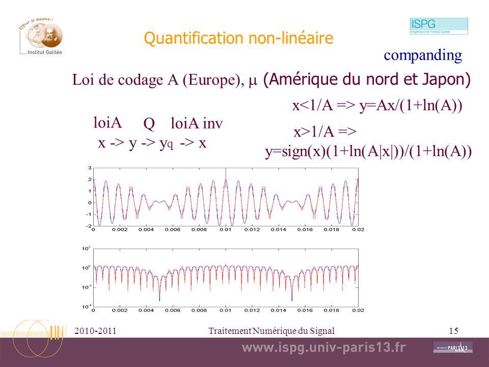 2010-2011Traitement Numérique du Signal15 Quantification non-linéaire Loi de codage A (Europe), (Amérique du nord et Japon) x -> y -> y q -> x loiA Q