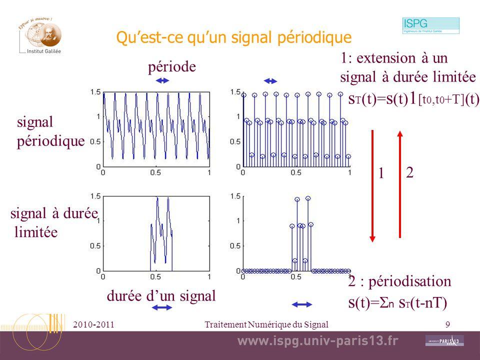 2010-2011Traitement Numérique du Signal9 Quest-ce quun signal périodique signal périodique signal à durée limitée 1 2 période 1: extension à un signal