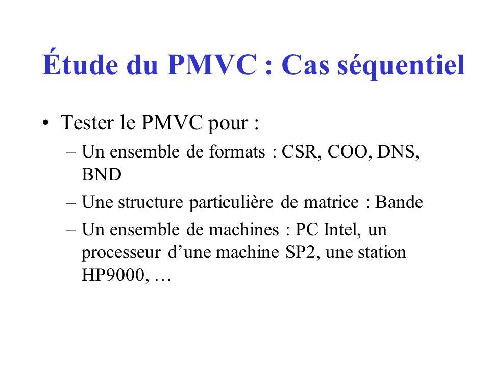Tester le PMVC pour : –Un ensemble de formats : CSR, COO, DNS, BND –Une structure particulière de matrice : Bande –Un ensemble de machines : PC Intel, un processeur dune machine SP2, une station HP9000, … Étude du PMVC : Cas séquentiel