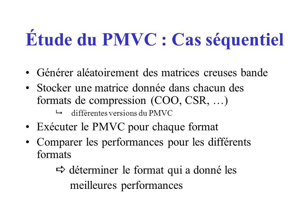 Générer aléatoirement des matrices creuses bande Stocker une matrice donnée dans chacun des formats de compression (COO, CSR, …) différentes versions du PMVC Exécuter le PMVC pour chaque format Comparer les performances pour les différents formats déterminer le format qui a donné les meilleures performances Étude du PMVC : Cas séquentiel