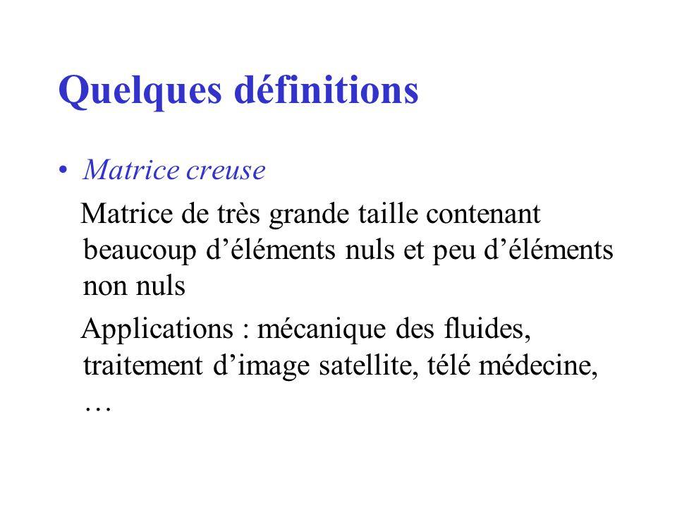 Quelques définitions Matrice creuse Matrice de très grande taille contenant beaucoup déléments nuls et peu déléments non nuls Applications : mécanique