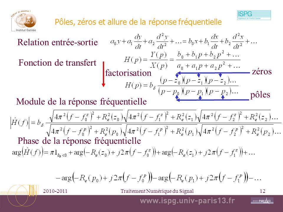2010-2011Traitement Numérique du Signal13 Equations différentielles, décomposition en élément simple et réponse impulsionnelle Fonction de transfert Décomposition en éléments simples pôles Réponse impulsionnelle TL