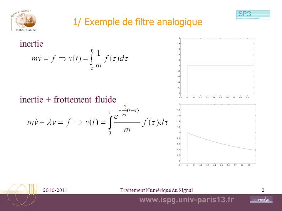 2010-2011Traitement Numérique du Signal3 Exemple de filtrages Entrée Réponse impulsionnelle Sorties t t t