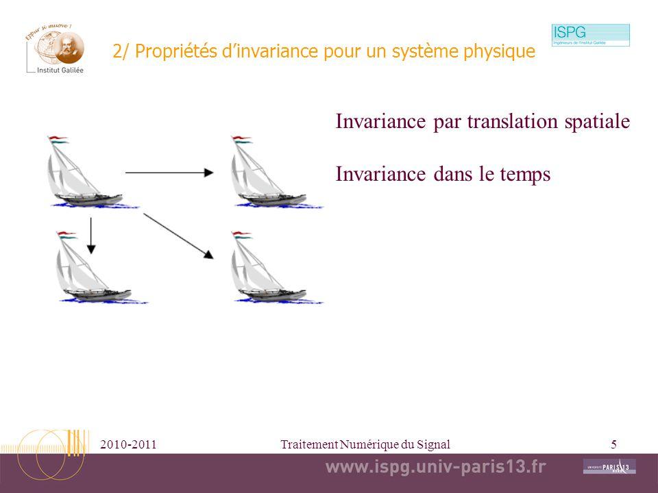 2010-2011Traitement Numérique du Signal6 Fonction de Green//Réponse impulsionnelle En général on a Principe dinvariance dans le temps : Alors Doù (Impulse response, Filter Kernel) Entrée sortie Réponse impulsionnelle