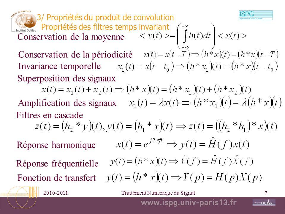 2010-2011Traitement Numérique du Signal8 4/ Transformée de Laplace module phase p=j2 f signal causal Re(p) f t