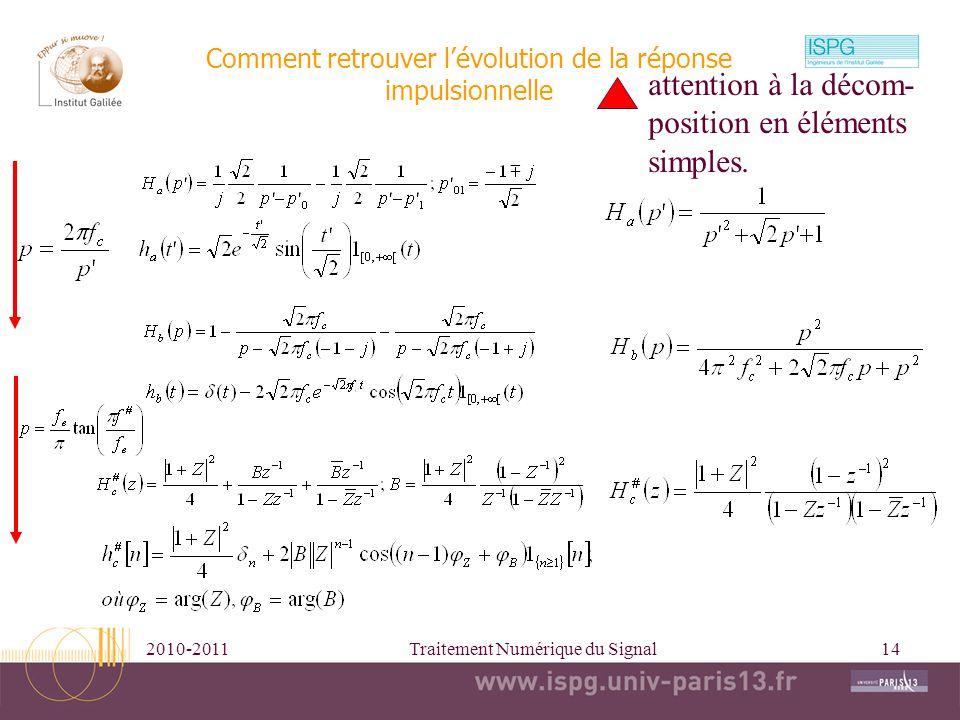 2010-2011Traitement Numérique du Signal14 Comment retrouver lévolution de la réponse impulsionnelle attention à la décom- position en éléments simples