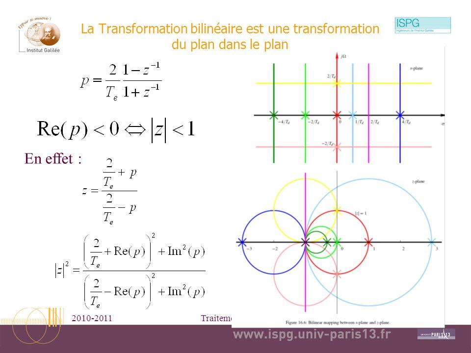 2010-2011Traitement Numérique du Signal8 La Transformation bilinéaire est une transformation du plan dans le plan En effet :