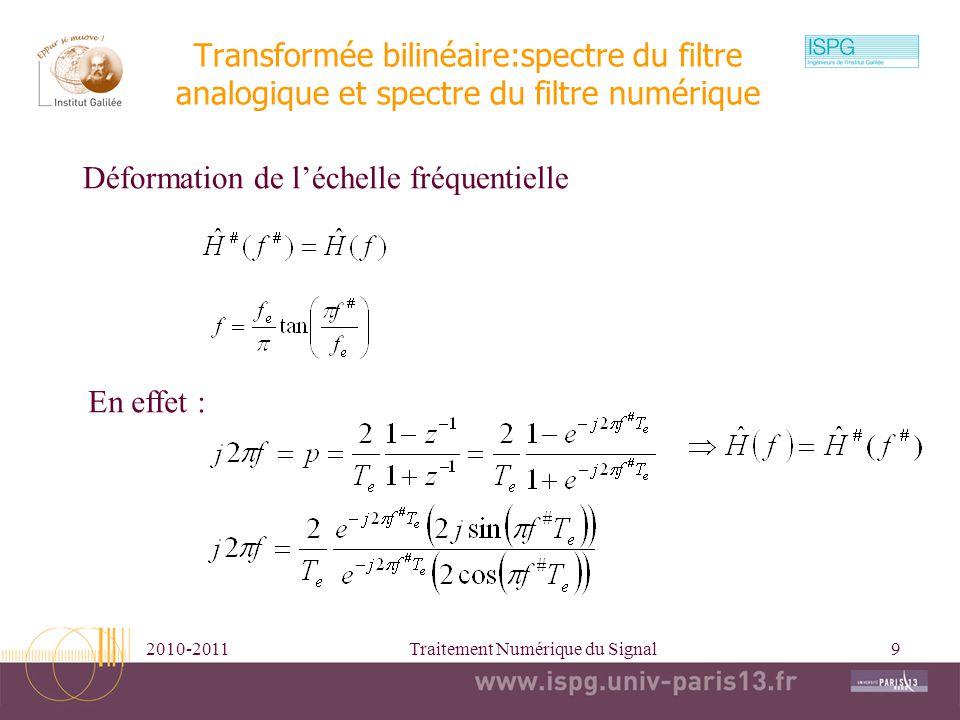 2010-2011Traitement Numérique du Signal9 Transformée bilinéaire:spectre du filtre analogique et spectre du filtre numérique Déformation de léchelle fr
