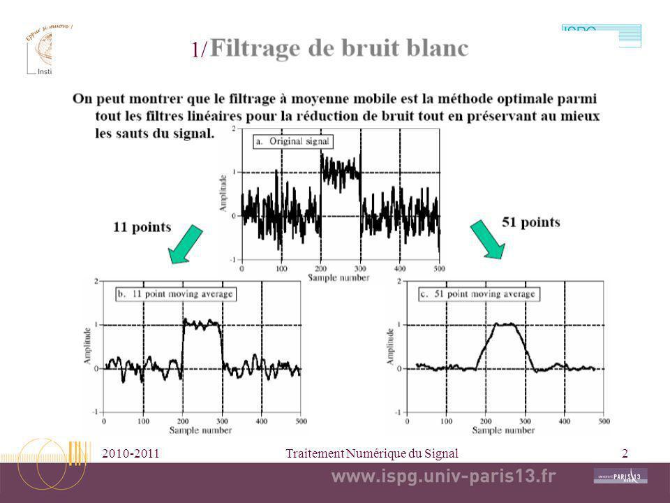 2010-2011Traitement Numérique du Signal2 1/