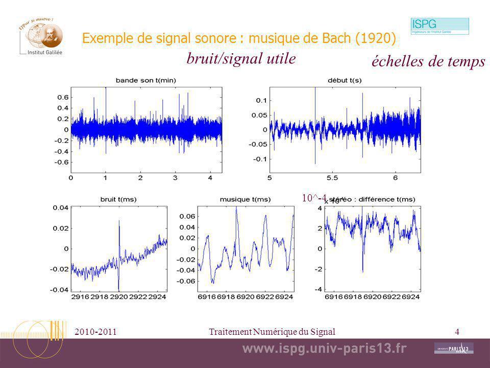 2010-2011Traitement Numérique du Signal4 Exemple de signal sonore : musique de Bach (1920) bruit/signal utile 10^-4 échelles de temps