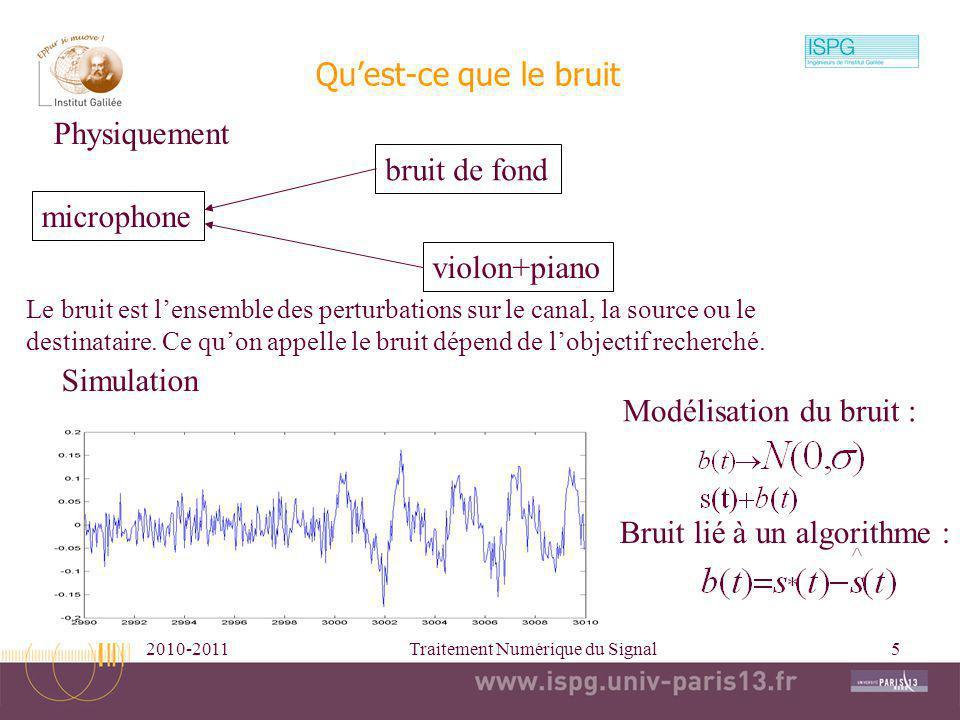 2010-2011Traitement Numérique du Signal5 Quest-ce que le bruit microphone bruit de fond violon+piano Modélisation du bruit : Le bruit est lensemble de