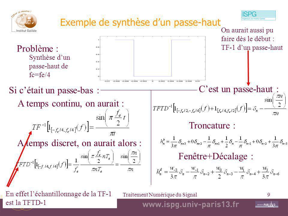 2010-2011Traitement Numérique du Signal9 Exemple de synthèse dun passe-haut Problème : A temps continu, on aurait : A temps discret, on aurait alors :