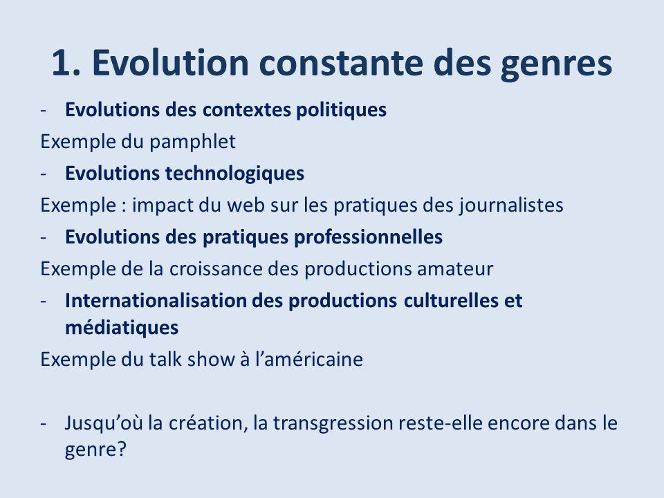 1. Evolution constante des genres -Evolutions des contextes politiques Exemple du pamphlet -Evolutions technologiques Exemple : impact du web sur les