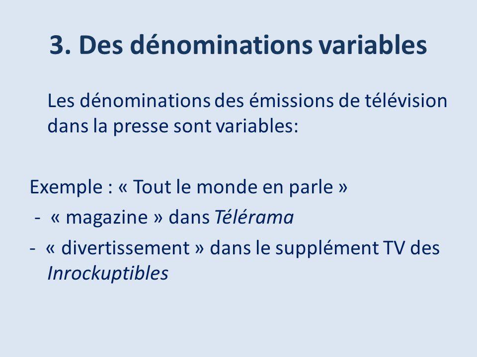 3. Des dénominations variables Les dénominations des émissions de télévision dans la presse sont variables: Exemple : « Tout le monde en parle » - « m