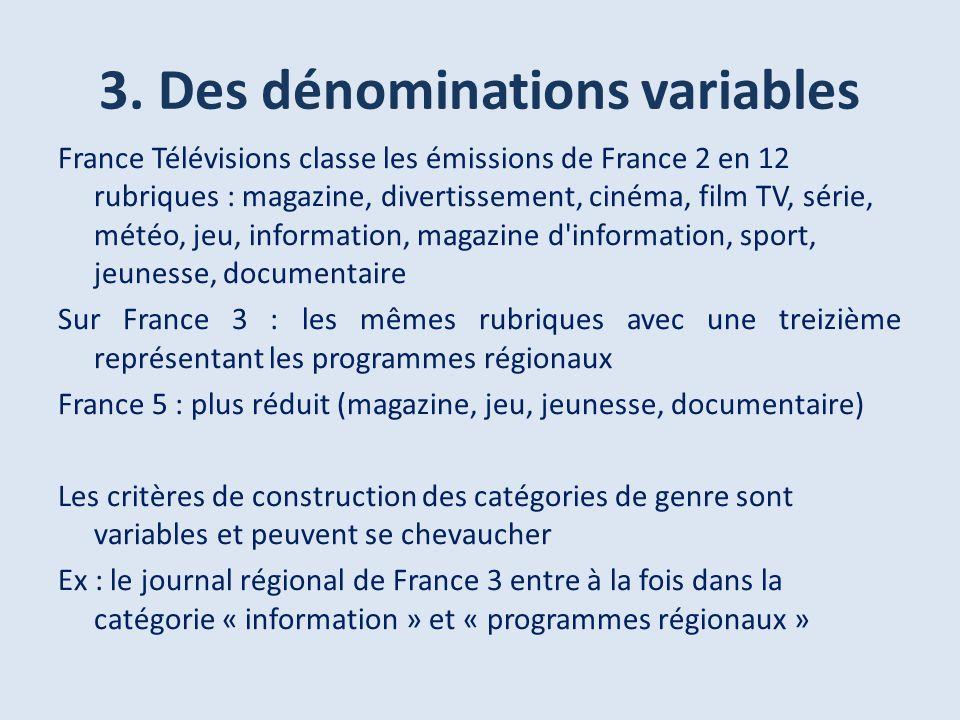3. Des dénominations variables France Télévisions classe les émissions de France 2 en 12 rubriques : magazine, divertissement, cinéma, film TV, série,