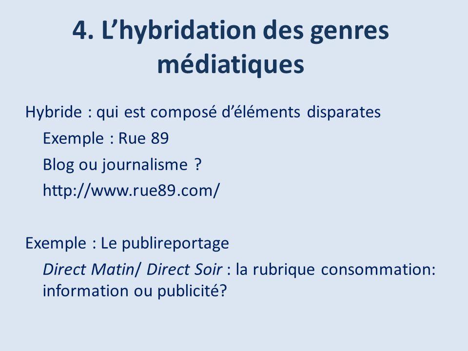 4. Lhybridation des genres médiatiques Hybride : qui est composé déléments disparates Exemple : Rue 89 Blog ou journalisme ? http://www.rue89.com/ Exe