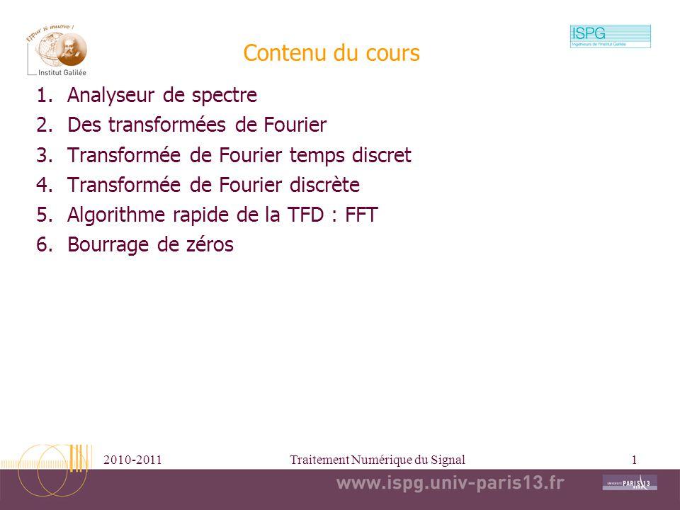 2010-2011Traitement Numérique du Signal2 1996