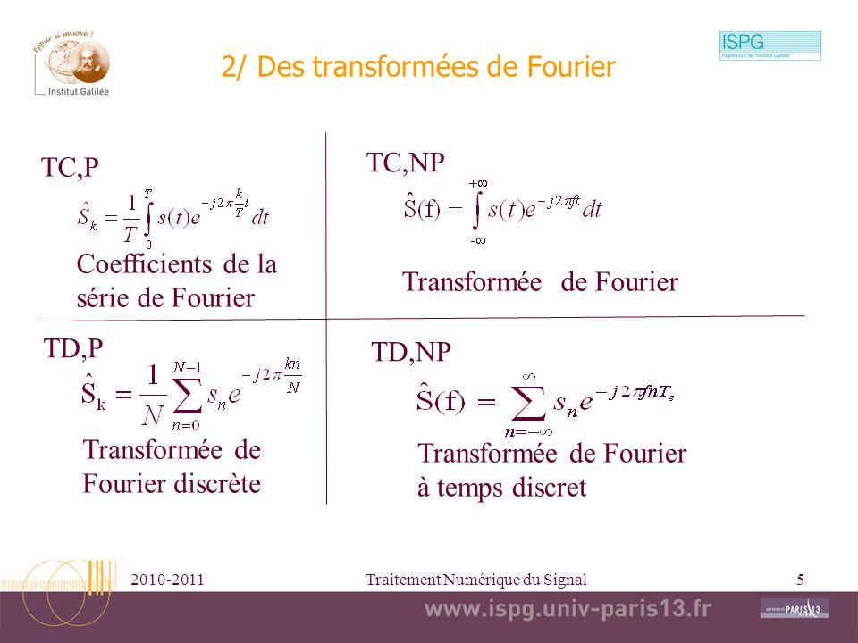 2010-2011Traitement Numérique du Signal6 période 3/ Tranformée de Fourier à temps discret TFTD TFTDI |X(f)| arg(X(f)) f e =1/T e Te=10