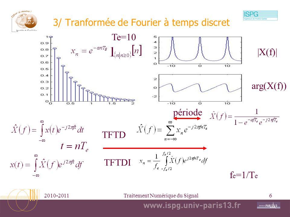 2010-2011Traitement Numérique du Signal7 Propriétés de la transformée de Fourier temps discret Parseval Retard=>déphasage Linéarité Dilatation/concentration Somme cumulée Produit de convolution/produit Sinusoïdes=>quotients décalage fréquentiel Parité