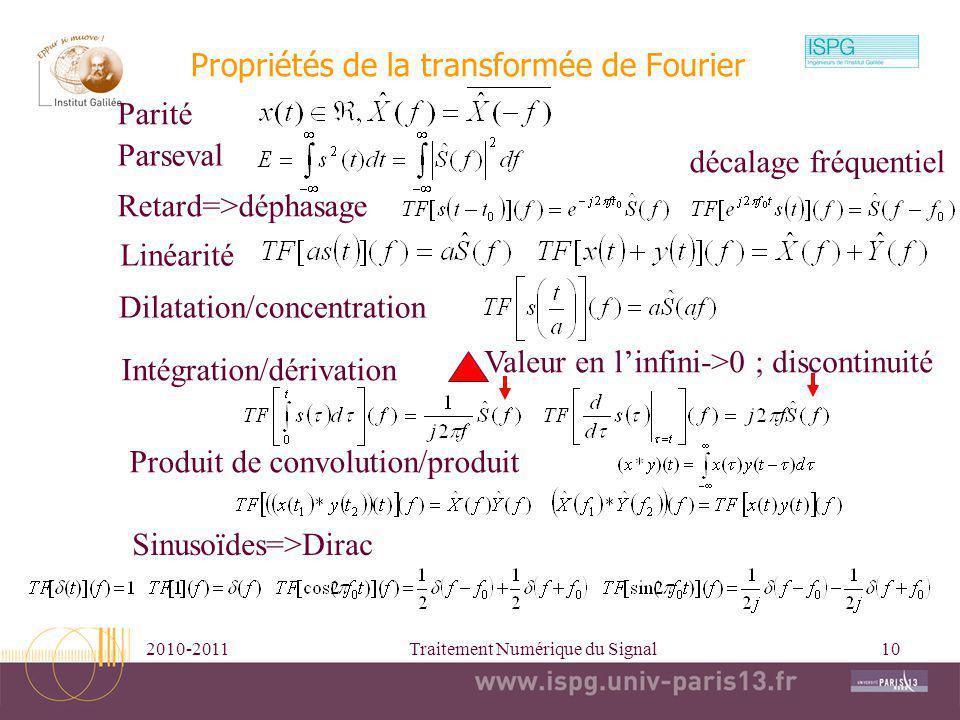 2010-2011Traitement Numérique du Signal10 Propriétés de la transformée de Fourier Parseval Retard=>déphasage Linéarité Dilatation/concentration Intégr