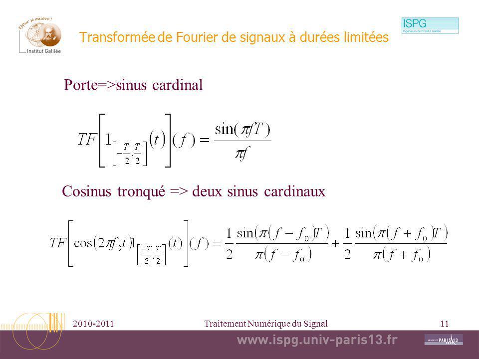2010-2011Traitement Numérique du Signal11 Transformée de Fourier de signaux à durées limitées Porte=>sinus cardinal Cosinus tronqué => deux sinus card