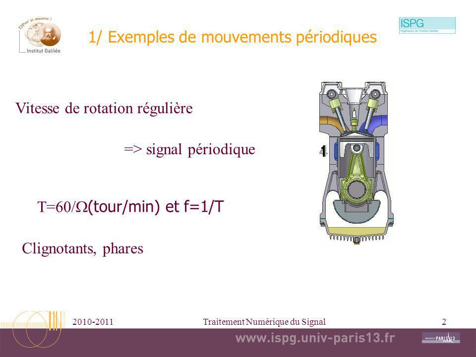 2010-2011Traitement Numérique du Signal2 1/ Exemples de mouvements périodiques Vitesse de rotation régulière => signal périodique T=60/ (tour/min) et